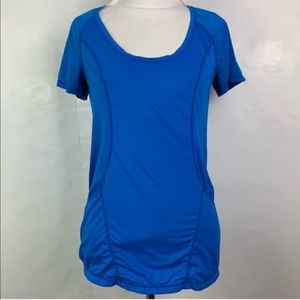 Zella Bright Blue Short Sleeve Workout Top Ruched